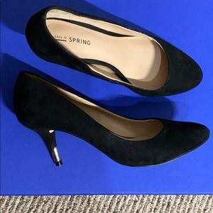 Call it Spring Black Suede Heels size 8.5